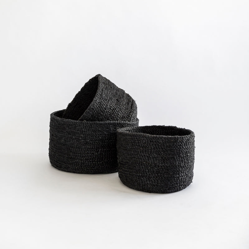 EDITION ROUND SET OF 3 JUTE BASKETS DESERT BLACK