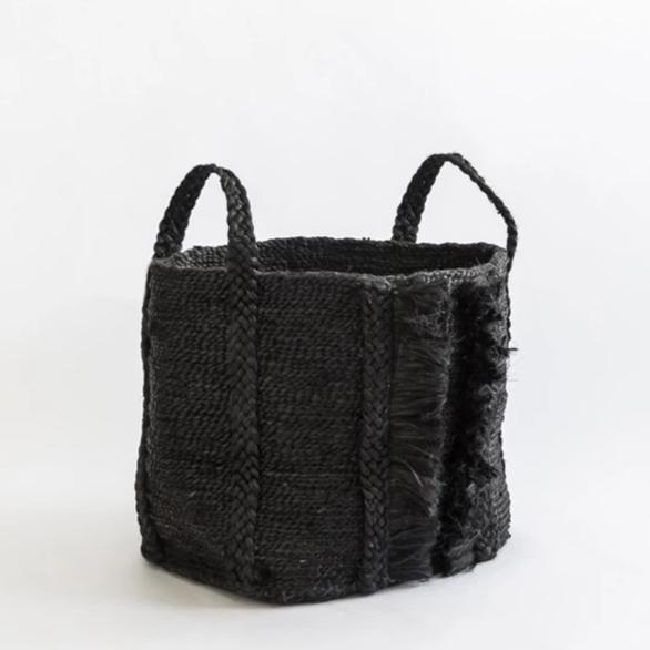 BAZAR MEDIUM WIDE FRINGE JUTE BASKET DESERT BLACK