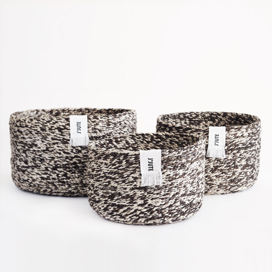 ROUND SET OF 3 JUTE STACKING BASKETS MARLED