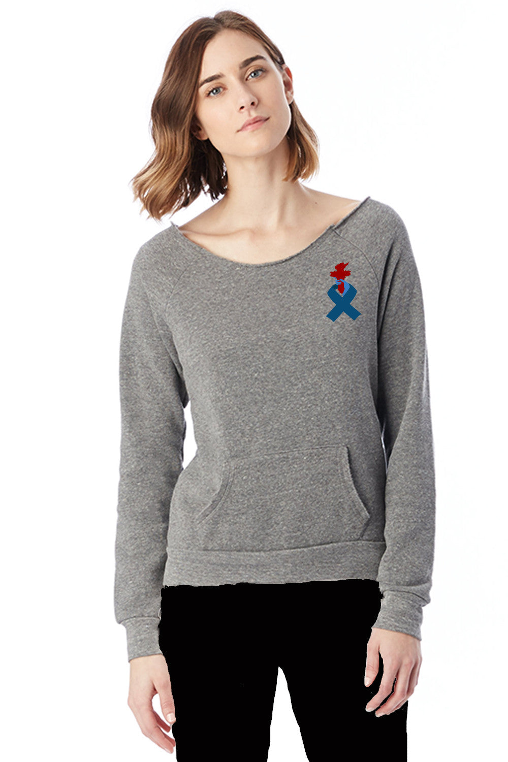 Liberty & Justice Women's Recycled and Organic Cotton Off the Shoulder Fleece ACLU Torch Ribbon