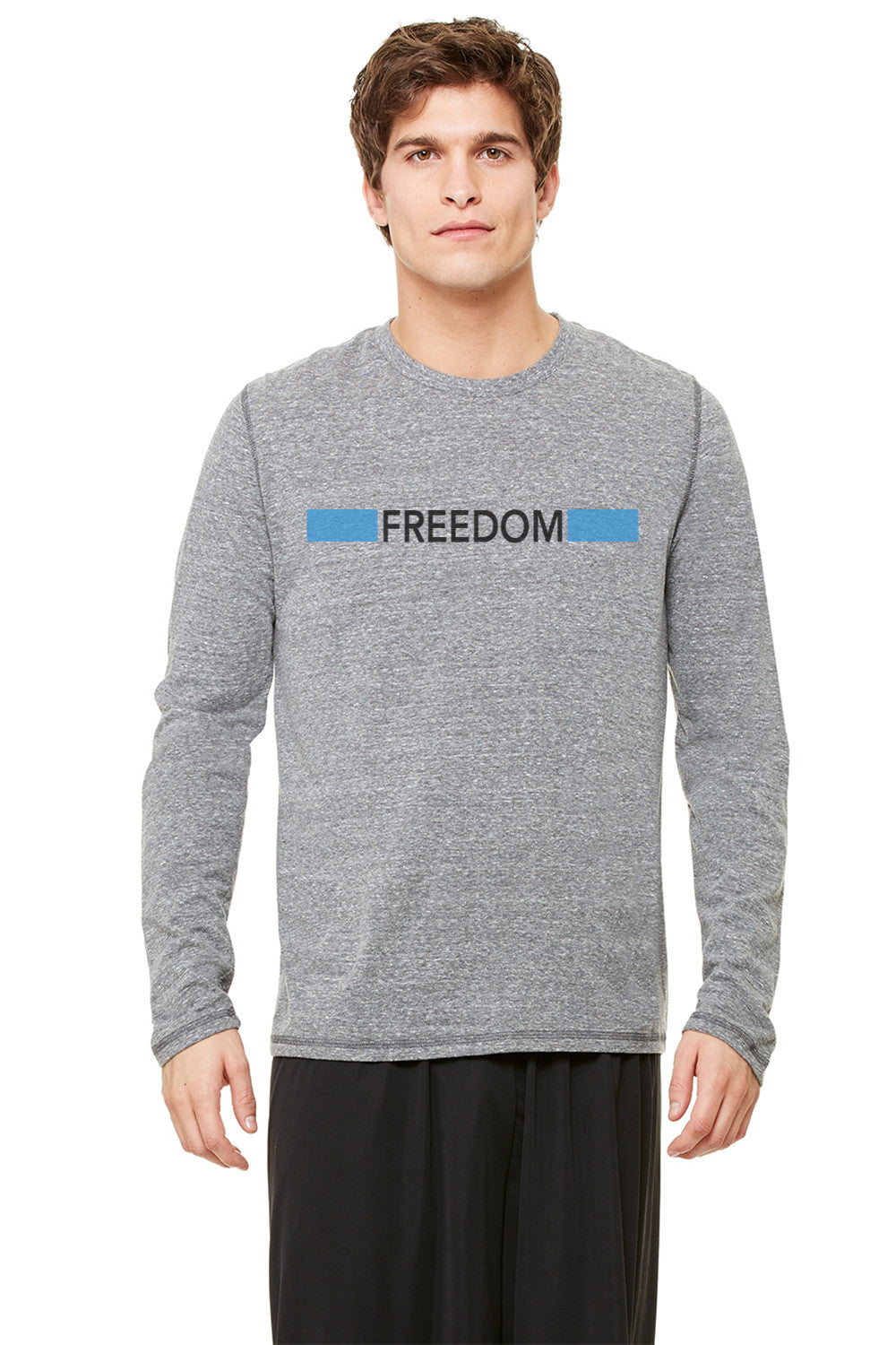 End it.  Men's Triblend Performance Long Sleeve Tee Freedom