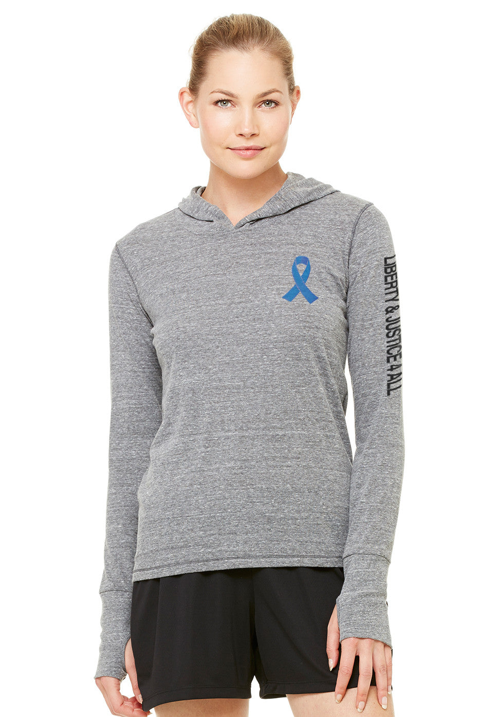 Liberty & Justice Women's Performance Triblend Long Sleeve Hooded Pullover ACLU Ribbon