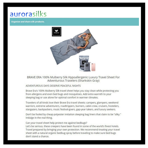 The Brave Era 100% Silk Travel Sheet as featured by Aurora Silks