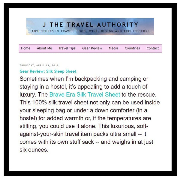 Brave Era's 100% Silk Travel Sheet Featured in J The Travel Authority