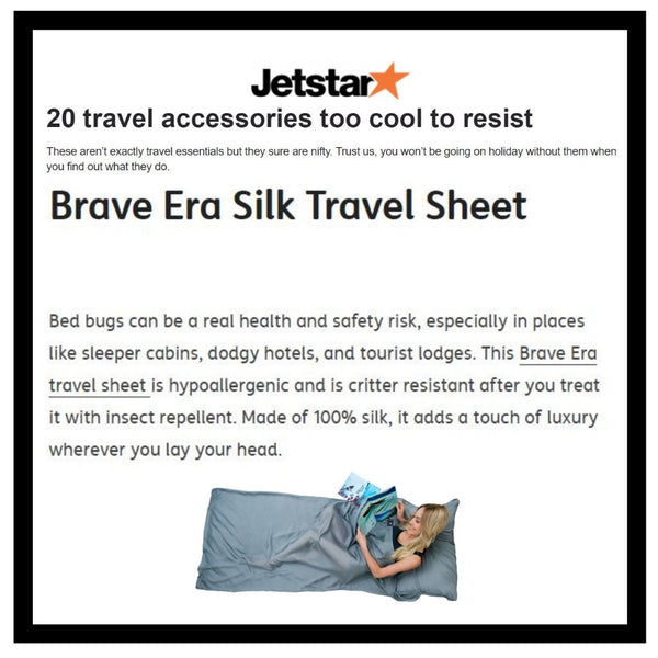 JetStar's Holiday Gift Guides with the Brave Era 100% Silk Travel Sheet