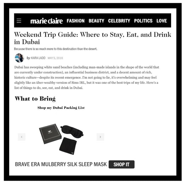 New feature of Brave Era's new Silk Sleep Mask in Marie Claire magazine's Dubai Travel Guide!