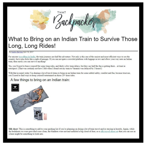 That Backpacker Recommends the Brave Era 100% Silk Travel Sheet