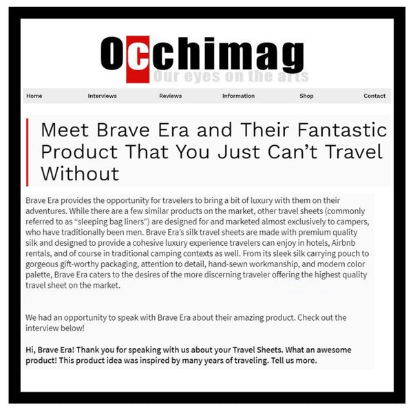 """Occhi Magazine Calls Brave Era """"The Product You Can't Travel Without"""""""