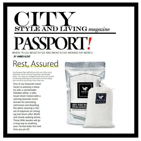 City Travel Magazine Features the Brave Era 100% Silk Travel Sheet as a good sleeping accessory while traveling.