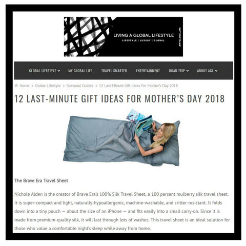 12 last-minute gift ideas for mother's day according to LIving a Global Lifestyle featuring the Brave Era 100% Silk Travel Sheet.