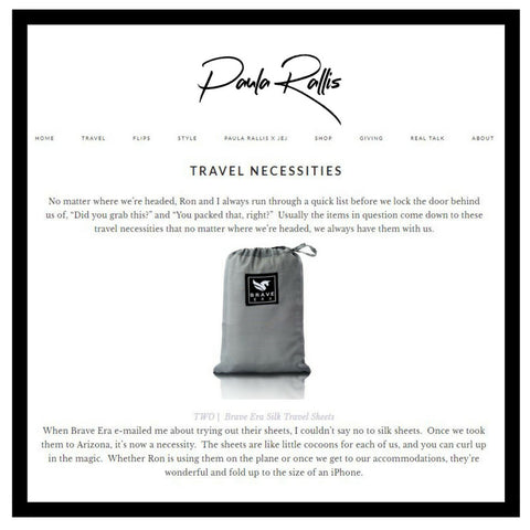 The Brave Era Travel Sheet as a travel necessity.