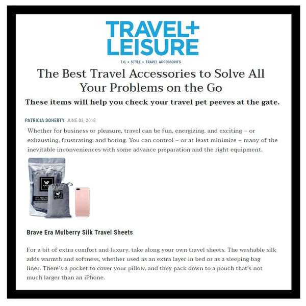Travel + Leisure Includes Brave Era in their Travel Essential List