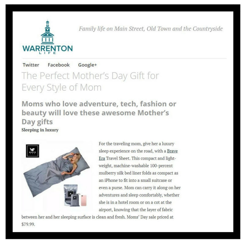 Moms deserve the perfect gift this Mother's Day. Warrentonlife includes Brave Era's 100% Silk Travel Sheet on their list.