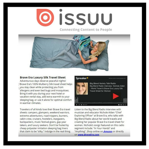 Issuu has something to say about the Brave Era 100% Mulberry Silk Travel Sheet.