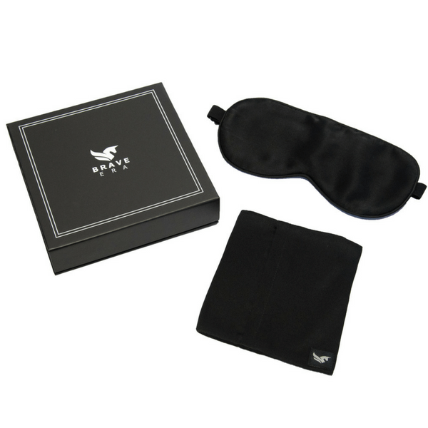 100% Silk Sleep Mask with Compact Travel Pouch and Luxury Gift Box by BRAVE ERA