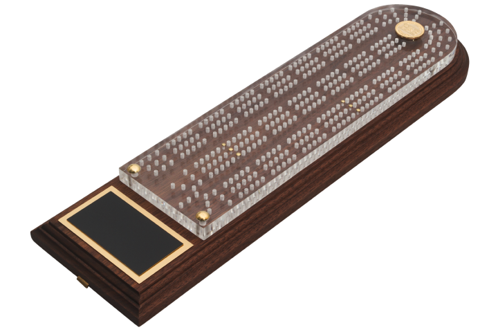 Luxurious High Quality Dark Walnut Cribbage Board with Acrylic and Brass Finishings - can be customized and engraved. Ideal for gifts or prizes.
