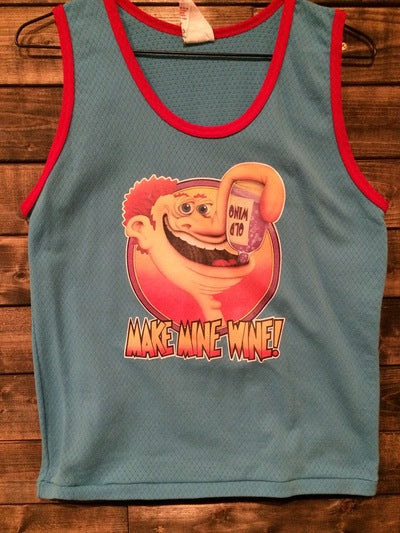 70's Make Mine Wine Iron On Mesh Muscle Tee