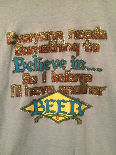 Funny 80's Beer Ringer Iron On Tee