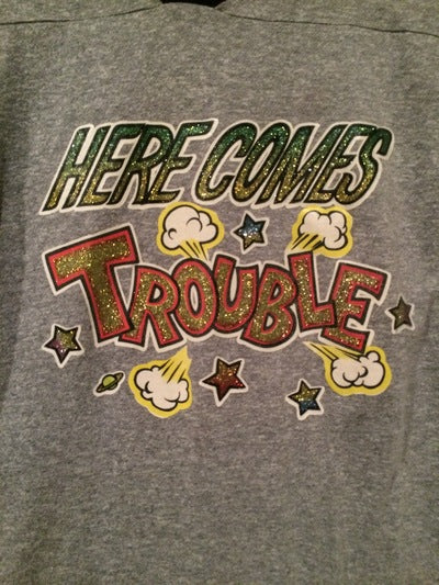 80's Here Comes Trouble Ringer  Iron On Tee