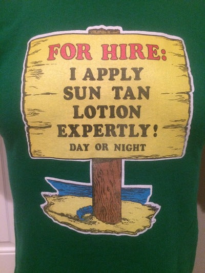 80's Expert Sun Tan Lotion Apply Iron On Tee