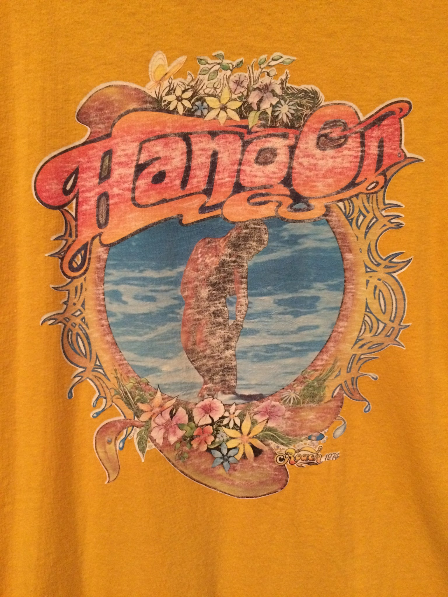 1974 Hang On Faded Iron On Tee