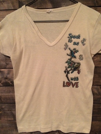 1970's Women's Love Iron On Babydoll Tee