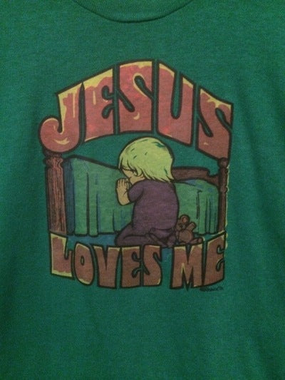 80's Jesus Loves Me Velva Sheen Iron On Tee