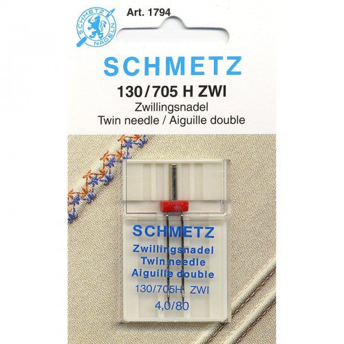 Notions: Schmetz Twin Needle (4.0/80; 1 count) - Vinegar and Honey Co - Fine Fabrics and Notions