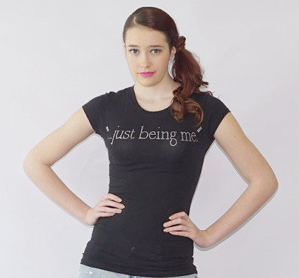 "Fabulous ""…just being me."" Rhinestone Accented Round Neck tee - BoujichickFashions"