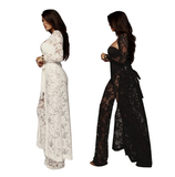 2 Piece Full  Length Lace and Satan Body Suit and Long Over Coat - BoujichickFashions