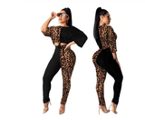2 Piece Set Leopard Print Crop Top and Pant Set - BoujichickFashions