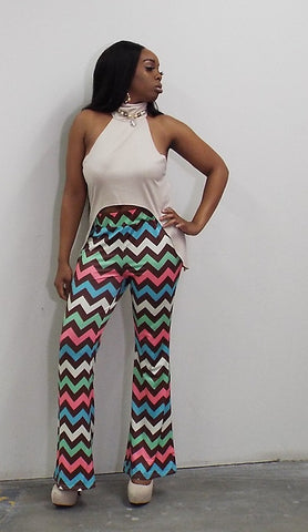 2 Piece Chevron Print Flare Bottom Pant with Turtleneck Sleeveless Crop Top - BoujichickFashions