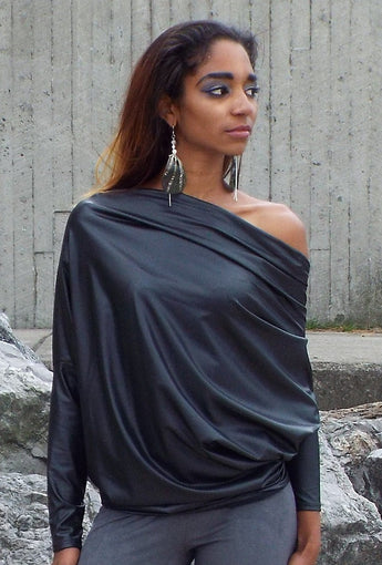 Liquid Leather Reversible Off The Shoulder Blouse - BoujichickFashions