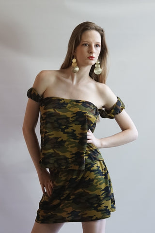 Two Piece Camouflage Halter Top Mini Skirt Set - BoujichickFashions