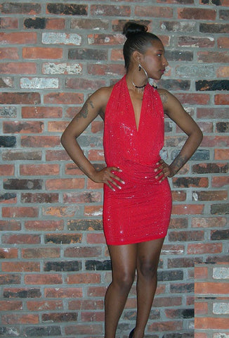 Back-out mini red dress - BoujichickFashions