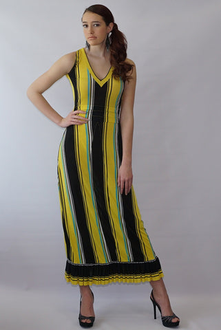 Double V Neck Multi-Stripped  Open Back Maxi Dress - BoujichickFashions