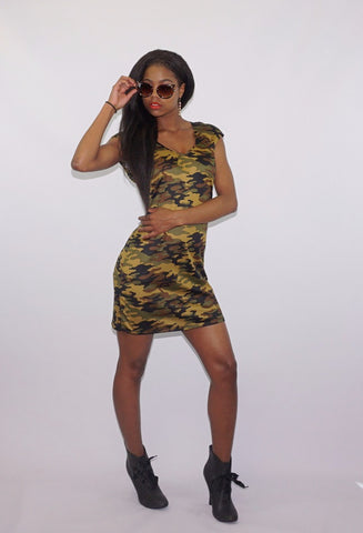 Army Camouflage Deep Scoop Neck Mini Dress