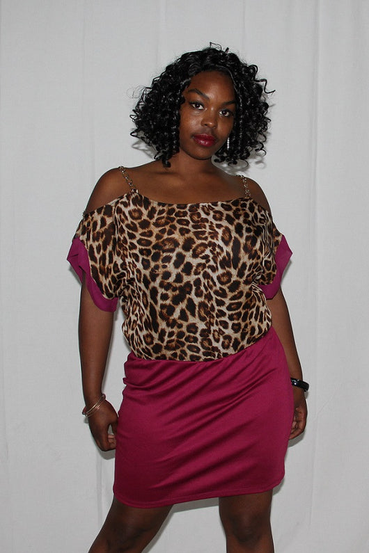 Plus Size Leopard Print Chiffon Chain Accented Mini Dress - BoujichickFashions