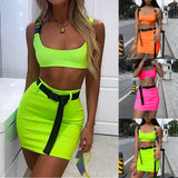 Two Piece Crop Top and Skirts Set - BoujichickFashions