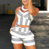 2 Piece Color block Striped Cami Top Short Set