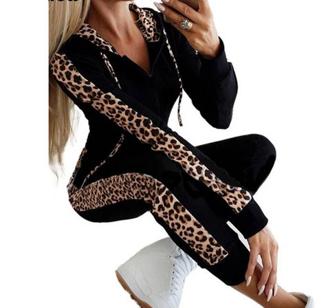 Autumn Fleece Leopard Print Two Piece Sweatsuit - BoujichickFashions