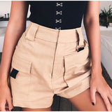 Women Belted Shorts With Front Large Patch Pockets - BoujichickFashions