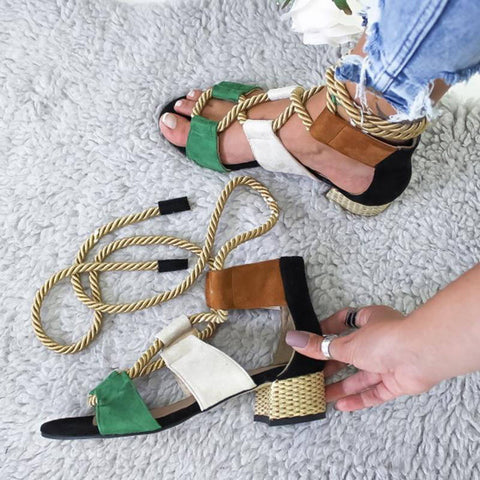 Espadrilles Like Style Hemp Lace-Up Sandals - BoujichickFashions