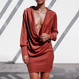 Deep V-neck Long Sleeve Dress - BoujichickFashions