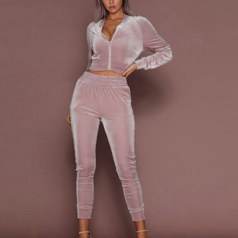 2 Piece Stylish Velvet Tracksuit