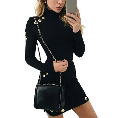 Gold Accented Grommets Long Sleeve Mini Dress - BoujichickFashions
