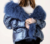 Genuine Feather Down and Lamb Fur Trim Jacket - BoujichickFashions