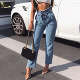 Drawstring and Elastic Waist Stretch Denim Trousers - BoujichickFashions