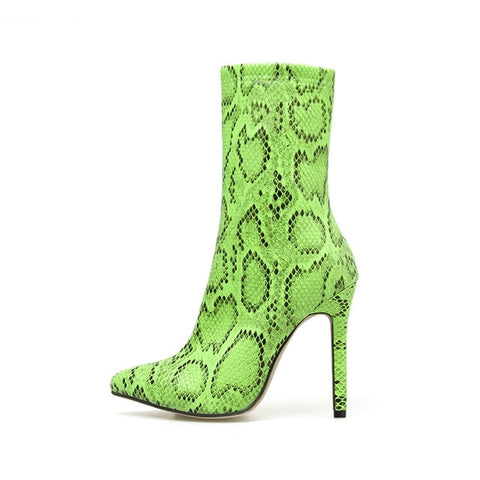 High Heels Pointed Toe Serpentine  Print Boot - BoujichickFashions