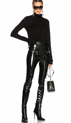 Patent Leather Split End Pant - BoujichickFashions